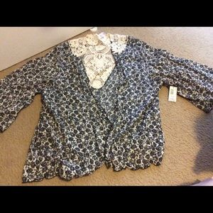 Tops - Floral and lace cardigan